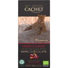 Σοκολάτα Μαύρη 57% Κεράσι-Αμύγδαλο BIO (CACHET)