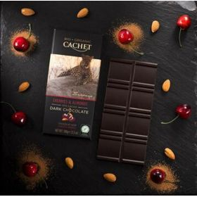 Dark Chocolate 57% cacao cherries & almonds BIO (CACHET)